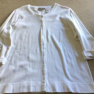Liz Claiborne White cotton knit shirt, Size L